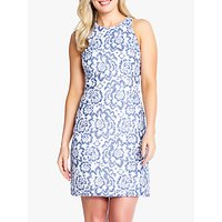 Adrianna Papell Elise Racer Back Floral Lace Dress, Blue/white