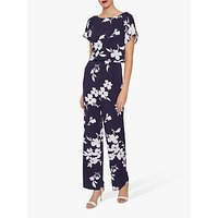 shop for Gina Bacconi Florina Jersey Jumpsuit, Navy/Ivory at Shopo