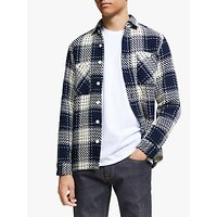 Wax London Cotton Check Whiting Shirt, Marine Beatnik