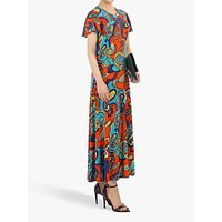 Jolie Moi Printed Cap Sleeve Dress, Red/Multi