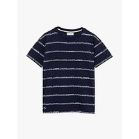 Lacoste Boys Short Sleeve Repeating Logo T-Shirt, Navy/White