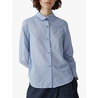 Toast Chambray Cotton Frill Collar Shirt, Blue