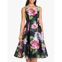 Image of Adrianna Papell Floral Print Mikado Dress, Black/Multi