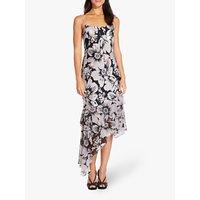 Adrianna Papell Bias Cut Floral Dress, Blush/black
