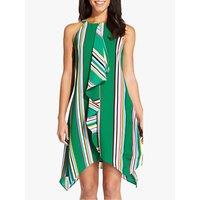 Adrianna Papell Striped Handkerchief Dress, Green/Multi
