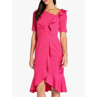 Image of Adrianna Papell Draped Short Crepe Dress, Geranium