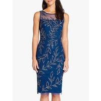 Adrianna Papell Beaded Leaf Dress, Night Blue