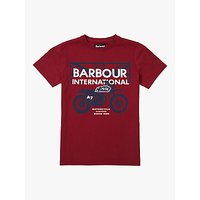 Barbour Boys Motorcycle Logo Cotton T-Shirt, Biking Red