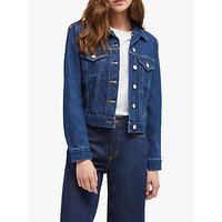 shop for French Connection Macee Micro Western Denim Jacket, Mid Blue at Shopo