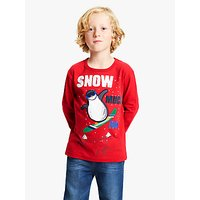 John Lewis and Partners Boys Sequin Snow Much Fun Christmas T-Shirt, Red