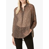 French Connection Brunella Crinkle Pop Over Shirt, Neutral/Multi