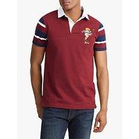 Polo Ralph Lauren Bear Logo Short Sleeve Rugby Shirt, Classic Wine Multi