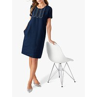 Pure Collection Linen Stitch Dress, Navy/White