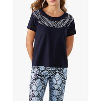 Pure Collection Embroidered Cotton T-Shirt, Navy/Soft White
