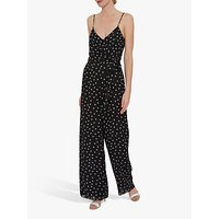 shop for Gina Bacconi Peyton Spot Chiffon Jumpsuit, Black/White at Shopo