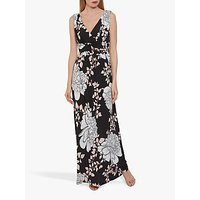 Gina Bacconi Raini Floral Print Jersey Maxi Dress, Black/Pink
