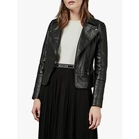 shop for Ted Baker Mandyy Leather Biker Jacket, Black at Shopo