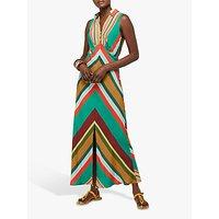 Monsoon Samira Stripe Print Maxi Dress, Green/Multi