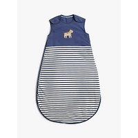 John Lewis & Partners Top Dog Striped Baby Sleep Bag, 2.5 Tog, Navy