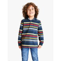 John Lewis & Partners Boys' Long Sleeve Stripe Polo Top, Blue/Multi