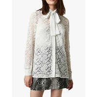 French Connection Baen Tie Neck Lace Blouse, Winter White