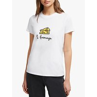 French Connection Le Fromage Short Sleeve Cotton T-Shirt, Linen White
