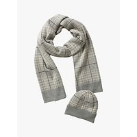 shop for Betty Barclay Check Hat and Scarf Set, Cream/Grey at Shopo