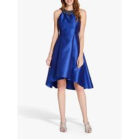 Image of Adrianna Papell Mikado High Low Party Dress, Deep Blue/Gunmetal