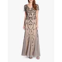 Image of Adrianna Papell Beaded Maxi Dress, Mercury/Nude