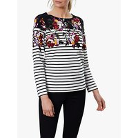 Joules Harbour Floral Jersey Top, Black Border Peony