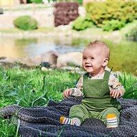 Polarn O. Pyret Baby Organic Cotton Cord Dungarees, Green