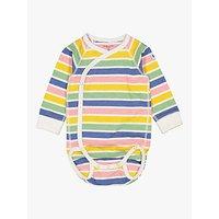 Polarn O. Pyret Baby Organic Cotton Candy Stripe Wraparound Bodysuit, Multi