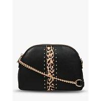 Carvela Olive Leather Leopard Print Cross Body Bag, Black