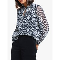 Collection WEEKEND by John Lewis Floral Tie Neck Easy Blouse, Blue