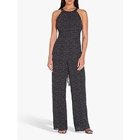 Image of Adrianna Papell Chiffon Polka Dot Print Jumpsuit, Black/Ivory