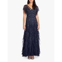 Adrianna Papell Beaded Ruffle Gown, Navy