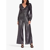 shop for Adrianna Papell Metallic Jersey Jumpsuit, Black/Gunmetal at Shopo