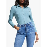 Boden Tara Jersey Cotton Shirt, Heritage Blue
