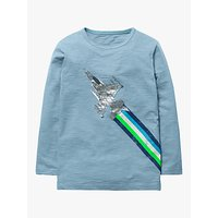 Mini Boden Boys Metallic Fast Vehicle Print T-Shirt, Blue Fighter Jet