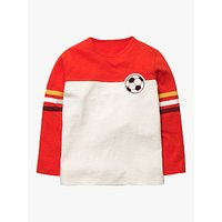 Mini Boden Boys Football T-Shirt, Red/Ivory