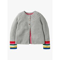 Mini Boden Girls Everyday Stripe Cardigan, Grey Marl