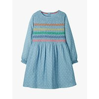 Mini Boden Girls' Embroidered Smock Dress, Blue