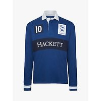Hackett London Scotland Cotton Rugby Shirt, Deep Sea
