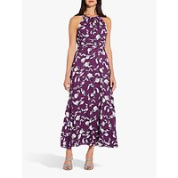 Adrianna Papell Botanical Halter Dress, Plum
