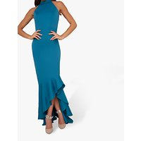 Chi Chi London Afton Halter Neck Dress, Teal
