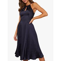 Chi Chi London Benita Halter Neck Dress, Navy
