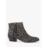 shop for AND/OR Paquita Leopard Pony Hair Ankle Boots, Black/White at Shopo
