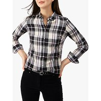 Pure Collection Cotton Check Print Shirt, Black/Pink Check