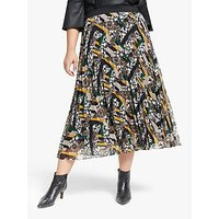 Persona by Marina Rinaldi Printed Pleat Skirt, Black/Multi