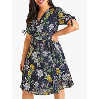 shop for Yumi Curves Crossover Floral Dress, Navy at Shopo